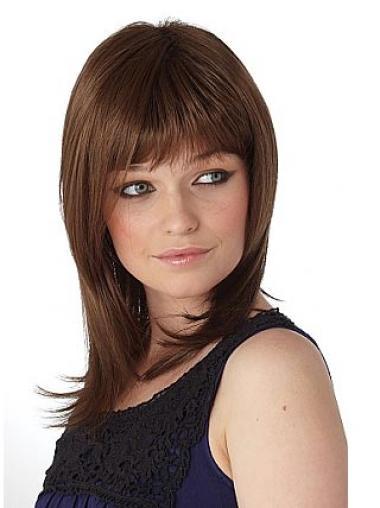 Medium Capless Brown Stylish Synthetic Wigs