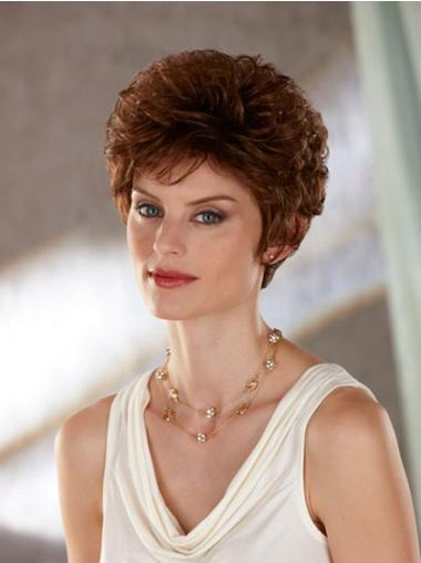 Wavy Synthetic Capless Short Brown Wigs