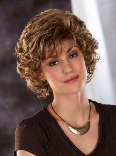 Synthetic Capless Wavy Brown Short Wigs