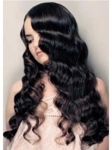 Curly Cheap Remy Human Hair Black Wigs