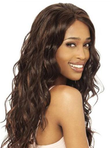 "Remy Human Hair 20"" Brown Long Wavy Wigs"