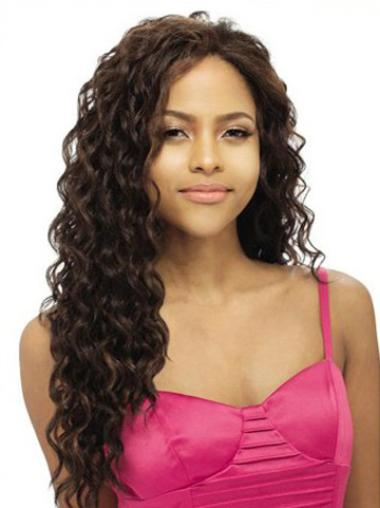 """Remy Human Hair 20"""" Brown Lace Front Wavy Wigs"""