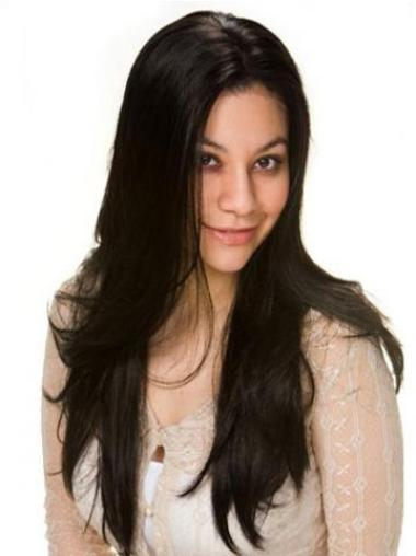 "Remy Human Hair 22"" Black Lace Front Straight Wigs"
