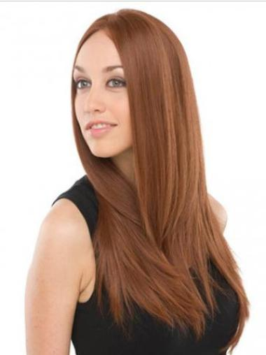 """Remy Human Hair 24"""" Auburn Lace Front Straight Wigs"""
