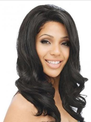 """Remy Human Hair 16"""" Black Lace Front Wavy Wigs"""