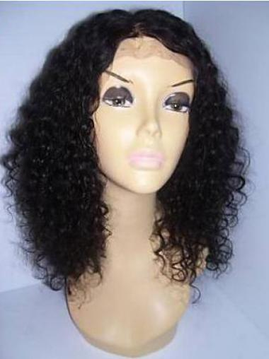 "Remy Human Hair 16"" Black Lace Front Curly Wigs"