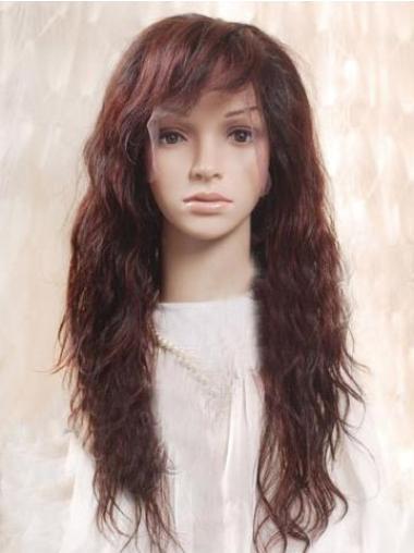 "Remy Human Hair 22"" Auburn Full Lace Wavy Wigs"