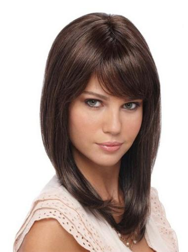Lace Front Synthetic Brown Straight Affordable Wigs