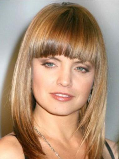 "Monofilament Straight Medium Human Hair 16"" Wigs"