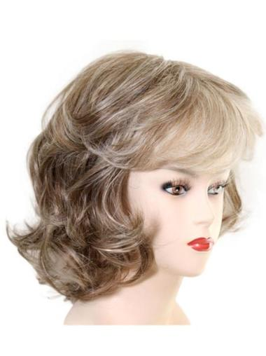 Capless Wavy Medium Synthetic Wigs