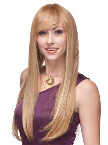 Blonde Remy Human Hair Stylish Straight Wigs