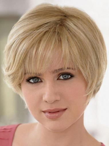 Blonde Remy Human Hair Designed Straight Wigs