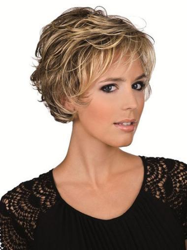 Blonde Remy Human Hair Fashion Wavy Wigs