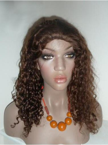 Brown Remy Human Hair Trendy Curly Wigs