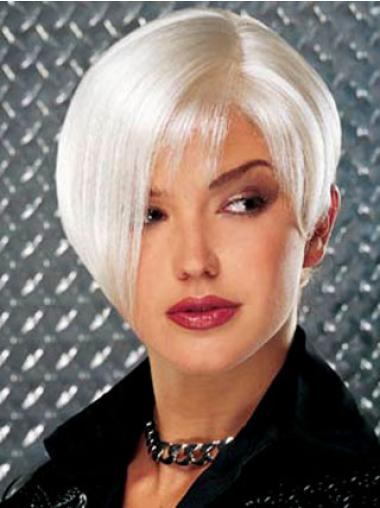 Monofilament Short Grey Fashion Wigs