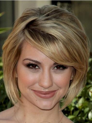 Short Straight Capless Blonde Celebrity Hairstyle Wigs