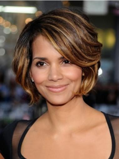 Synthetic Short Wavy Celebrity Wigs Hairstyle