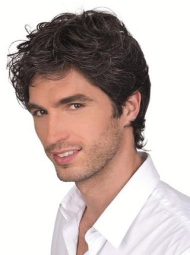 Remy Human Hair Brown Monofilament Curly Short Men Wigs