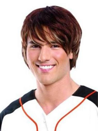 Remy Human Hair Auburn Straight Lace Front Men Wigs
