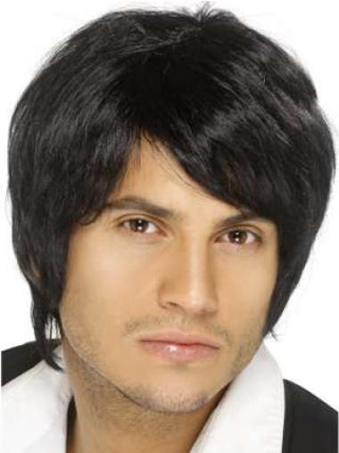 Remy Human Hair Black Straight Capless Men Wigs