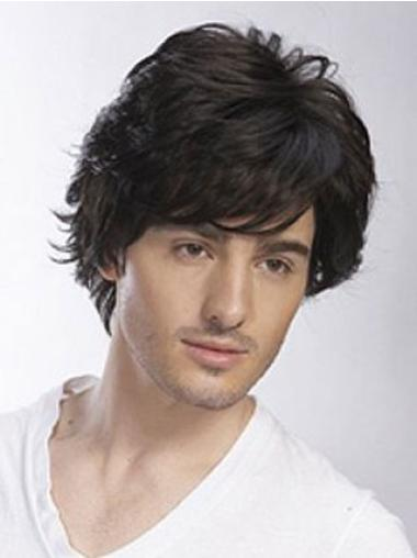 Remy Human Hair Black Wavy Full Lace Men Wigs