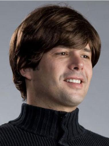 Straight Short Synthetic Brown Capless Men Wigs
