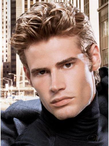 Straight Short Human Hair Brown Lace Front Men Wigs