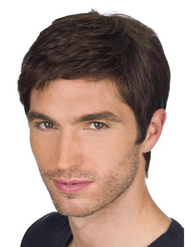 Remy Human Hair Straight Full Lace Brown Men Wigs