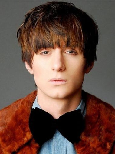 Remy Human Hair Straight Capless Brown Men Wigs