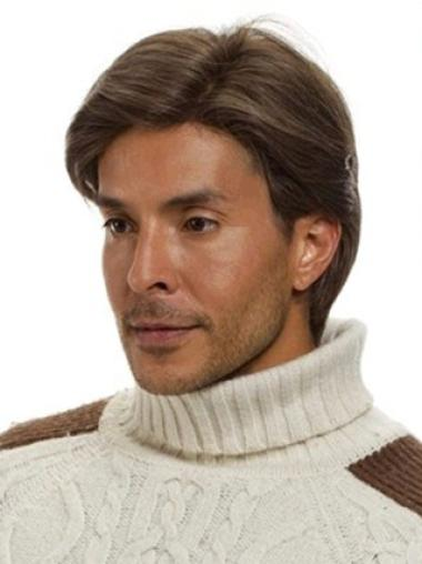 Remy Human Hair Straight Monofilament Brown Men Wigs