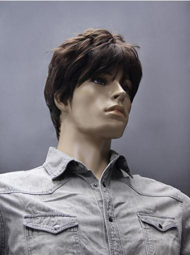 Synthetic Straight Brown Short Men Wigs