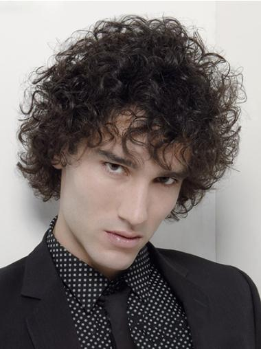 Capless Synthetic Curly Black Short Men Wigs