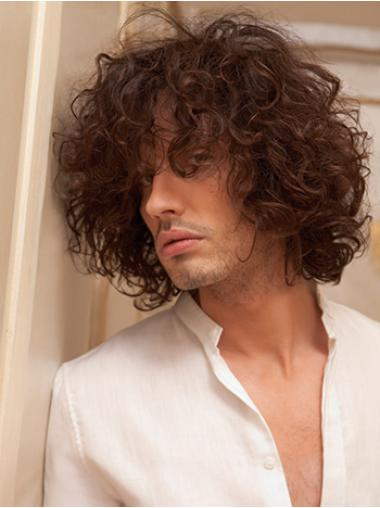 Capless Remy Human Hair Curly Auburn Short Men Wigs