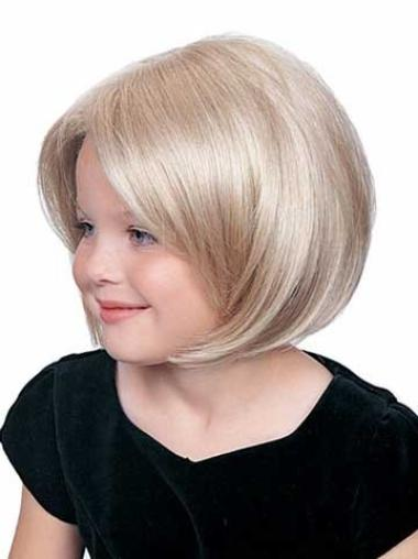 Short Lace Front Straight Synthetic Kids Wigs