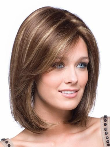 Medium Straight Lace Front Brown Soft Bob Wigs