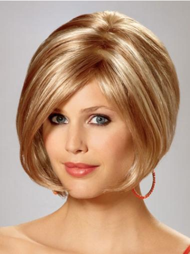 Short Straight Capless Blonde Ideal Bob Wigs