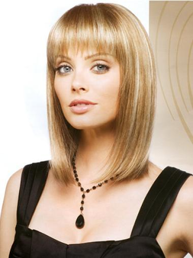 Short Straight Monofilament Blonde Fashion Bob Wigs
