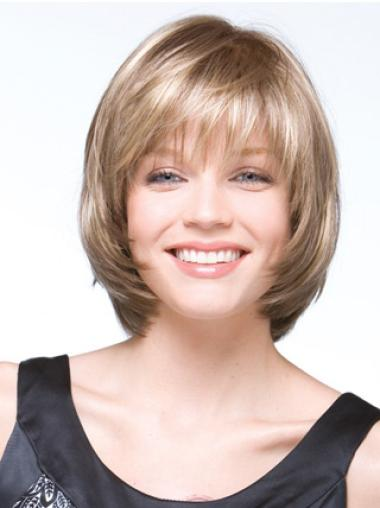 Short Straight Capless Blonde Perfect Bob Wigs