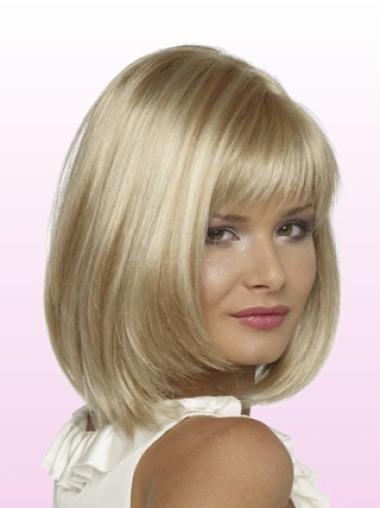 Short Straight Lace Front Blonde Cheap Bob Wigs