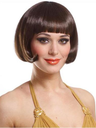 Synthetic Brown Capless Bob Discount Wigs