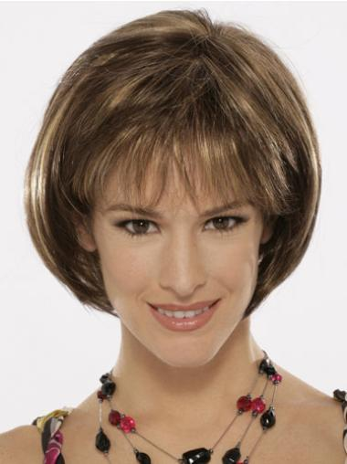 Synthetic Brown Capless Bob Top Wigs