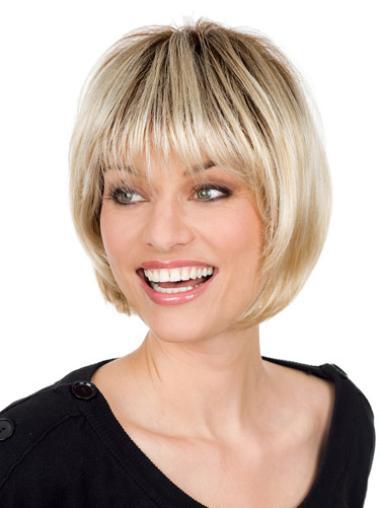 Blonde Monofilament Straight Short 2014 Bob Wigs
