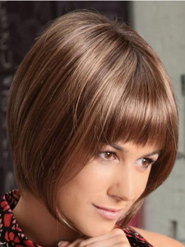 Brown Lace Front Straight Short Cheapest Bob Wigs