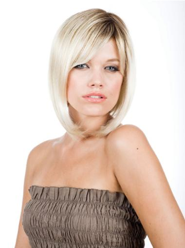 Blonde Monofilament Straight Medium Best Bob Wigs