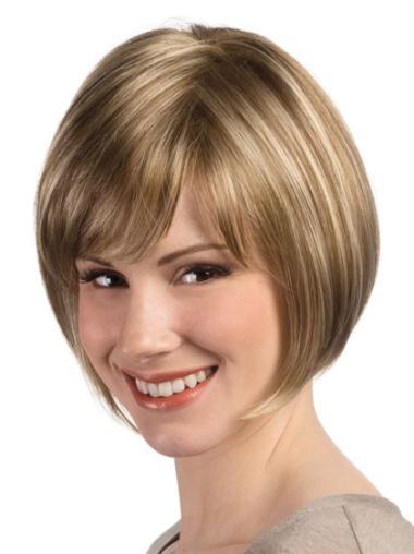 Blonde Monofilament Straight Short Best Bob Wigs