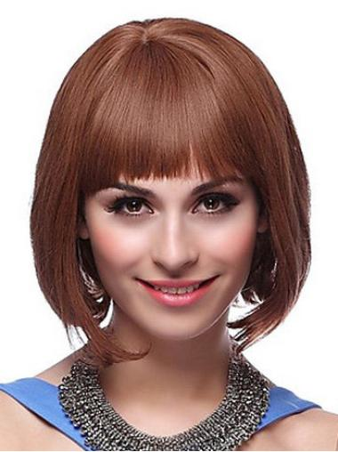 Auburn Capless Straight Short Top Bob Wigs