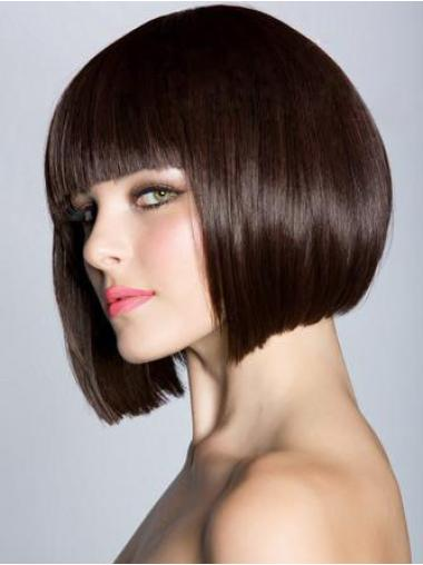Brown Capless Straight Medium Stylish Bob Wigs