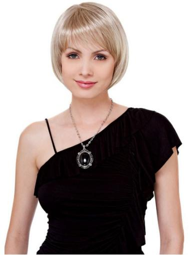 Blonde Lace Front Straight Short Soft Bob Wigs