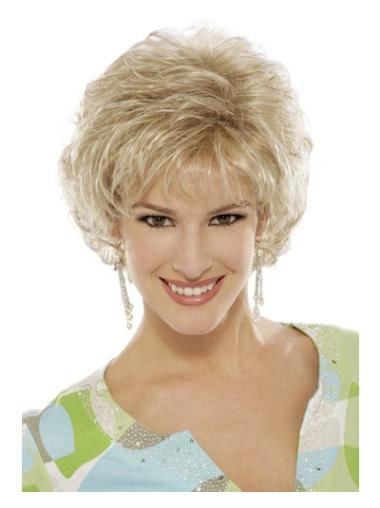 High Quality Blonde Capless Curly Synthetic Short Wigs