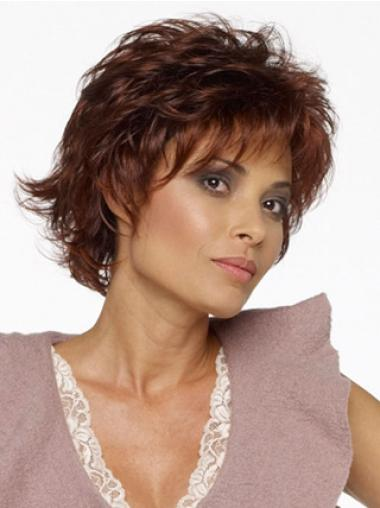 Stylish Auburn Capless Curly Synthetic Short Wigs